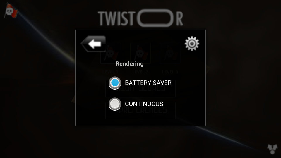 Twistor Game for Android Settings